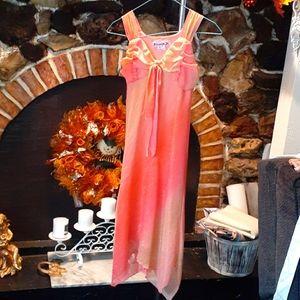 Sleeveless Handkerchief Girls dress sz8 pink&peach